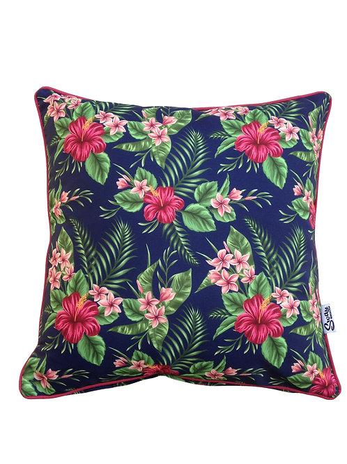 tropical flower cushion navy