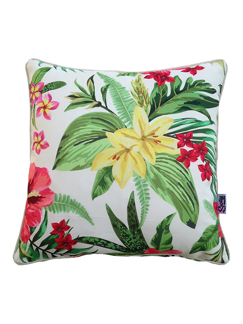 Cream tropical flower cushion