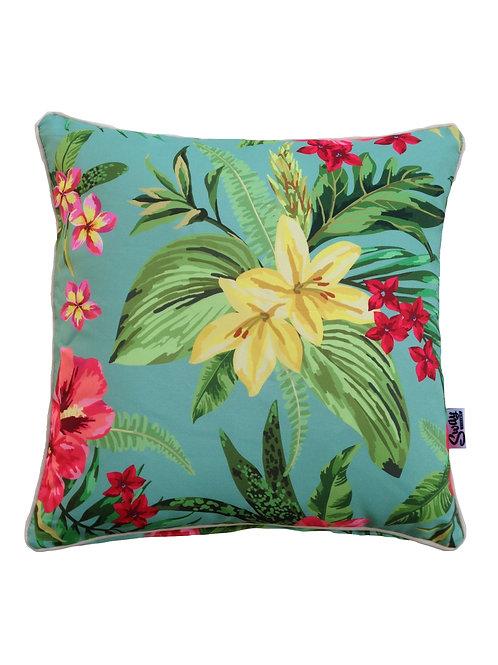 Tropical Island blue floral outdoor cushion
