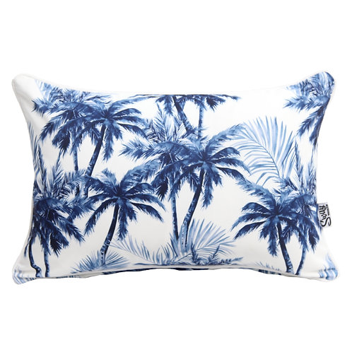 Blue and white palm tree cushion