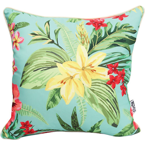 Tropical Blue Floral outdoor cushion