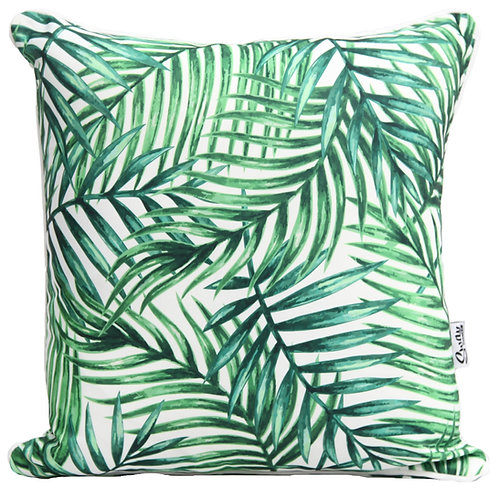 Green palm leaves cushion cover