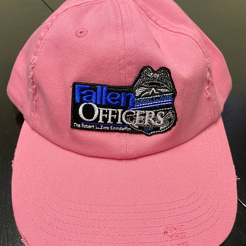 Pink Fallen Officers Hat- Distressed Low Profile