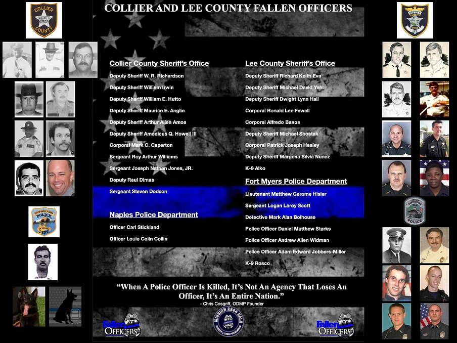 the fallen officers of collier county, the fallen officers of lee county, the fallen offic