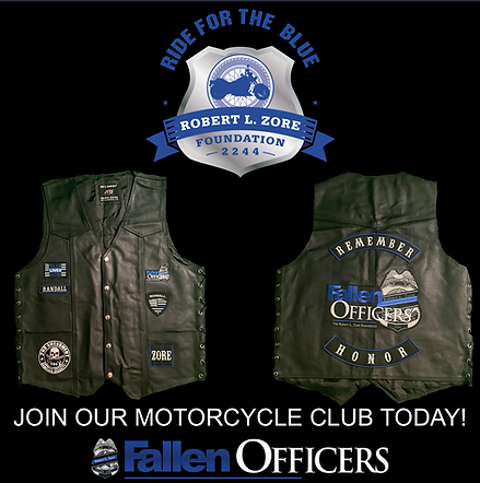 ride for the blue motorcycle club, the fallen officers, Harley Davidson, bikers, Robert l