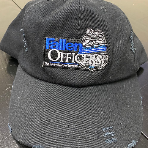 Black Fallen Officers Hat- Distressed Low Profile