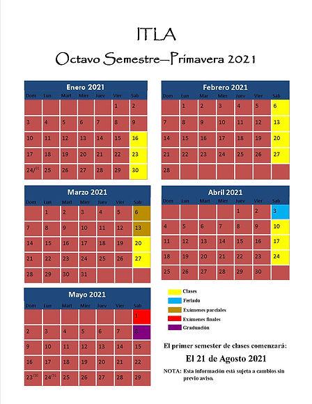 ITLA Calendario 2020-2021 Octavo Semestr