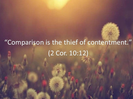 Comparison is the thief of contentment...
