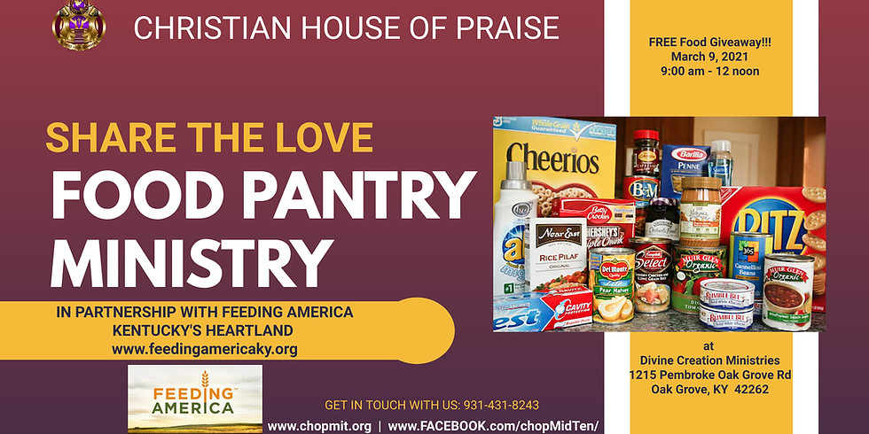 "Christian House of Praise ""Share the Love Food Pantry"" FREE Food Giveaway"