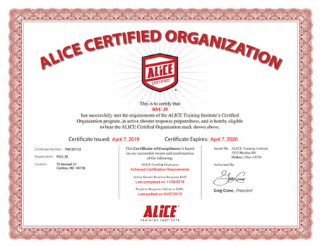 RSU 39 is certified in ALICE Training