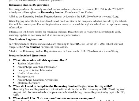 NEW Online Registration in RSU 39 for New and Returning students.