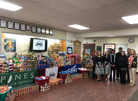 Caribou High School JMG donates nearly 6,000 items for Pines Community Food Cupboards