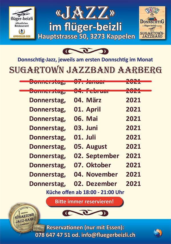 Flyer A5 Jazz Abend Sugartown Jazzband A
