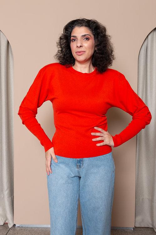 Blusa Decote Careca Com Ombreira - Viviane Furrier