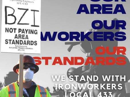 TEAMSTERS LOCAL 186 SUPPORTS IRON WORKERS LU 433 STRIKE AT AMAZON CONSTRUCTION SITE OXNARD, CA