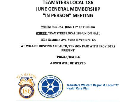 LOCAL 186 JUNE GENERAL MEMBERSHIP MEETING/HEALTH/PENSION FAIR ON SUNDAY, JUNE 13th at 11:00am