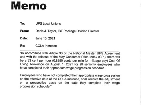 COLA RAISE AUGUST 1, 2021 FOR UPS PACKAGE