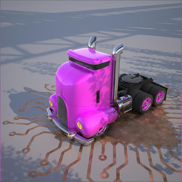 Bubblegum express truck modeled by Graphic designer in Edmonton Martin Yatzko