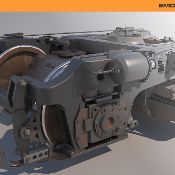 This is a Train Truck (wheel assembly) modeled by Graphic designer in Edmonton Martin Yatzko