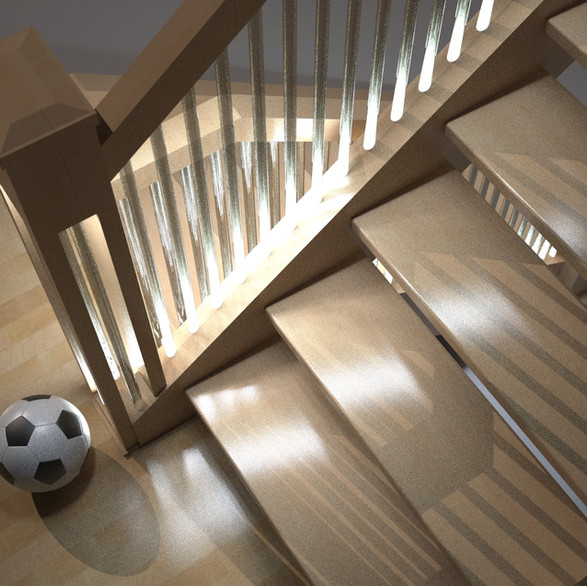 LED lights installed on tops and bottoms of acrylic stair case spindles