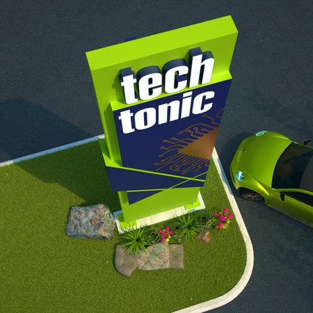 TECH pylon sign designed by Graphic designer in Edmonton Martin Yatzko