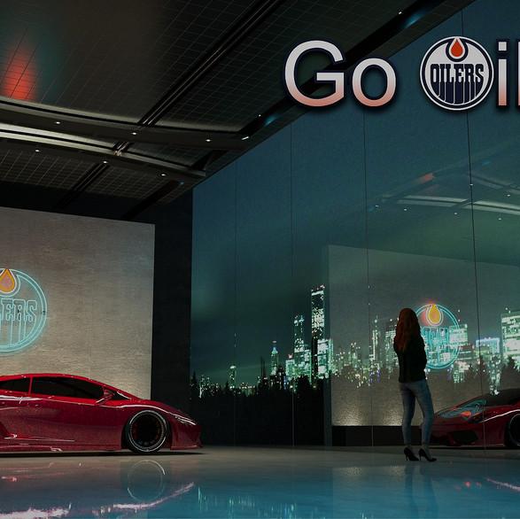 Go OILERS! Edmonton Oilers logo in neon tubing