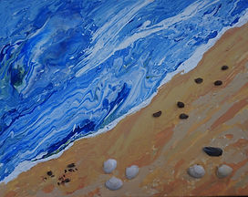 Shells On THe Beach acrylic pour paintings sea beach seashells collaged onto canvas