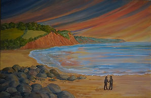 #Sidmouth #Sunset#art#paining#canvas#devon#sunset