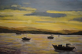 #Starcross#Sunset#boats#reflections#art#painting