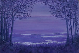 Purple Sea.seascape in purple, hint of pink trees waves semi abstract impressionist deep edge canvas painted sides