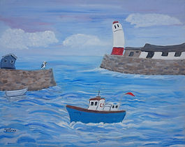 Quirky Berty Boat lighthouse harbour painting