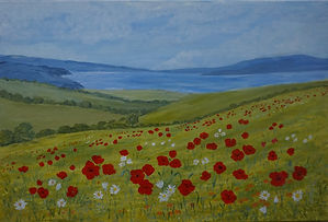Wildflowers On The Coast Poppies Daisies seascape by JanetDavies.
