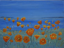 Californian#Poppies and Coast scene #art