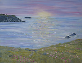 Sunrise Seascape.youtube painting art for sale demonstration, beautiful reflections in sea, wildflowers thrift foreground, rabbit