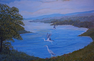 #Herons on the #lake#art#painting