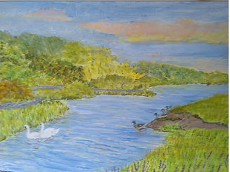 Exeter Canal.with swans and ducks painting on canvas original art for sale