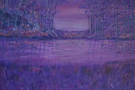 Purple Sunset.modern art pink and purple sky, trees lake reflections wildflowers modern art for sale semi abstract contemporary painting