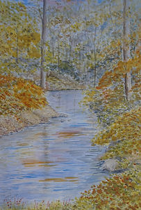By The River In Autumn art paining