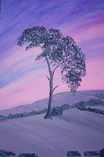 Goodnight#Tree#Raddon #Hill #crediton#devon#landmark#Grey tree, pink purple sky