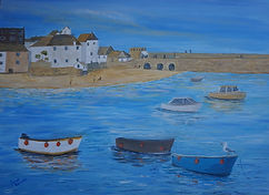 St Ives. Cornwall peir beach boats holiday resort art for sale painting