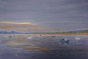 #exe#estuary#starcross#Exmouth At #Sunset#painting#art