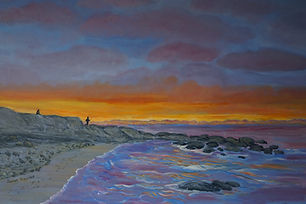 #fishing At #Sunset#art#painting#orange#blue