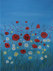 Wildflowers painting on canvasby Janet Davies