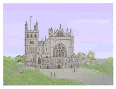Exeter Cathedral in colour prints