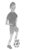 boy with football illustration black white
