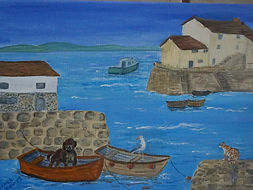 Ready For A Boat Ride. harbour, boats dog cat homest gulls painted edges, framing not needed modern art style, seascape