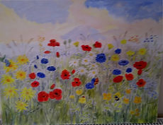 Wildflower Mix. painting wildflowers poppys daisys buttercups art for sale artjandavies.com