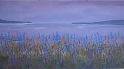The Sea At Dawn.purple seascape wildflowers