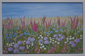 Scabious Framed colourful #contemporary #art
