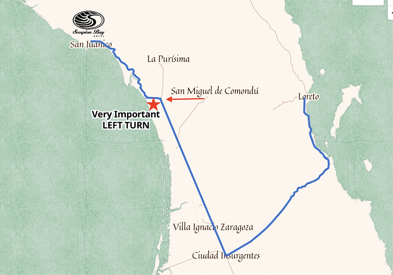 Loreto to Hotel Map.png
